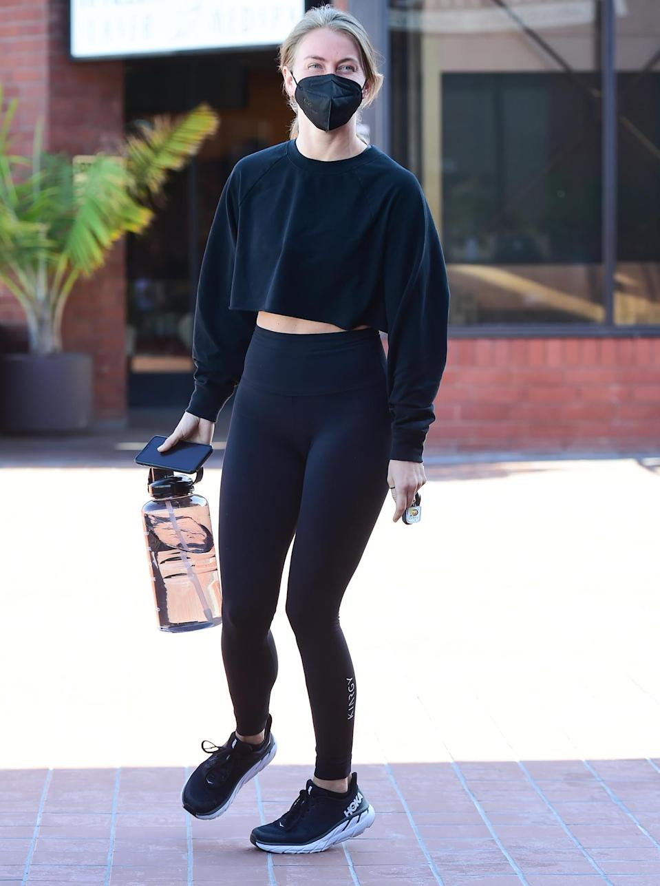 <p>Julianne Hough brings a large water bottle with her to work out on Thursday in L.A.</p>