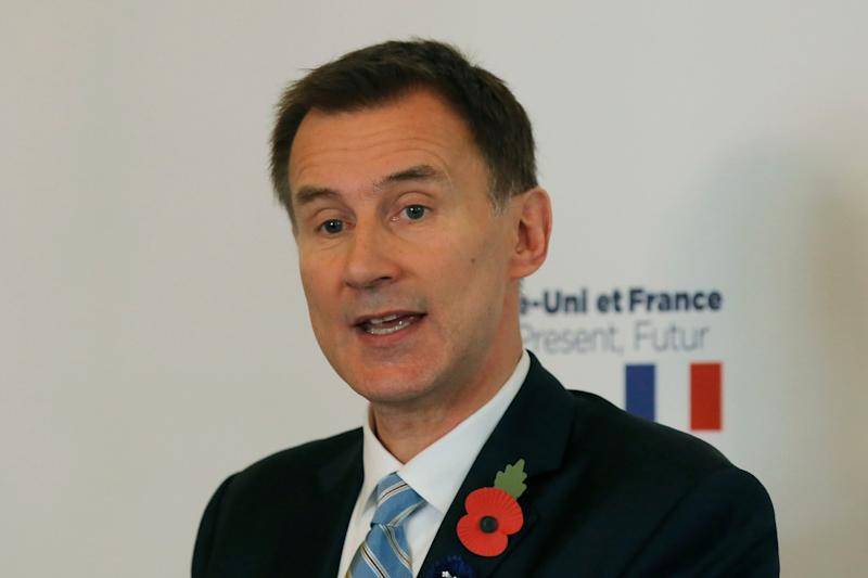 Britain's Foreign Secretary Jeremy Hunt delivers a speech at the British embassy in Paris: AP