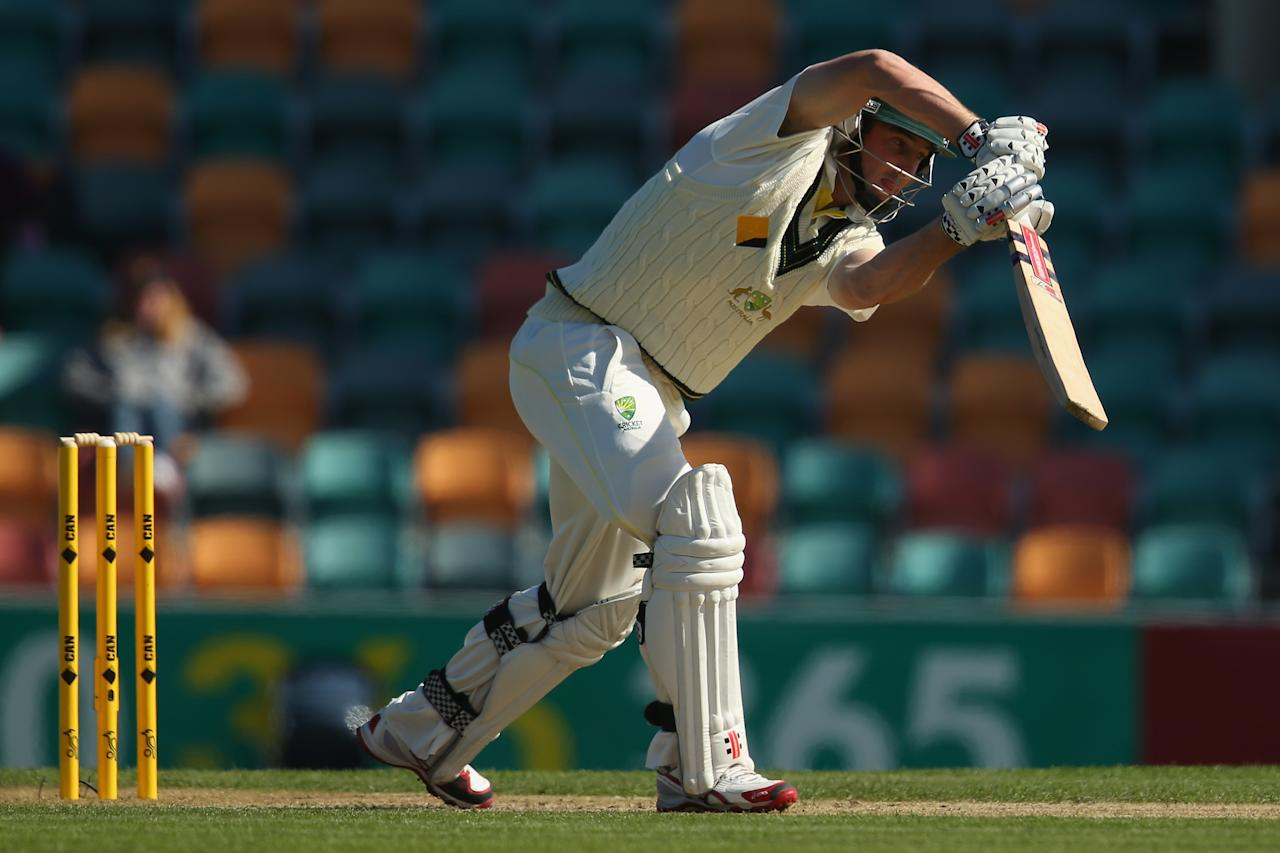 HOBART, AUSTRALIA - NOVEMBER 09:  Shaun Marsh of Australia A bats during day four of the tour match between Australia A and England at Blundstone Arena on November 9, 2013 in Hobart, Australia.  (Photo by Mark Kolbe/Getty Images)