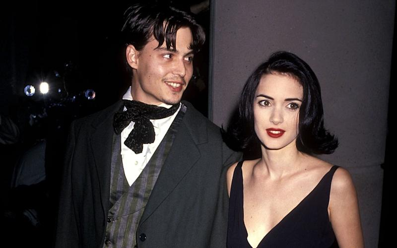 Johnny Depp and Winona Ryder attend the 48th Annual Golden Globe Awards on January 19, 1991 - Getty Images