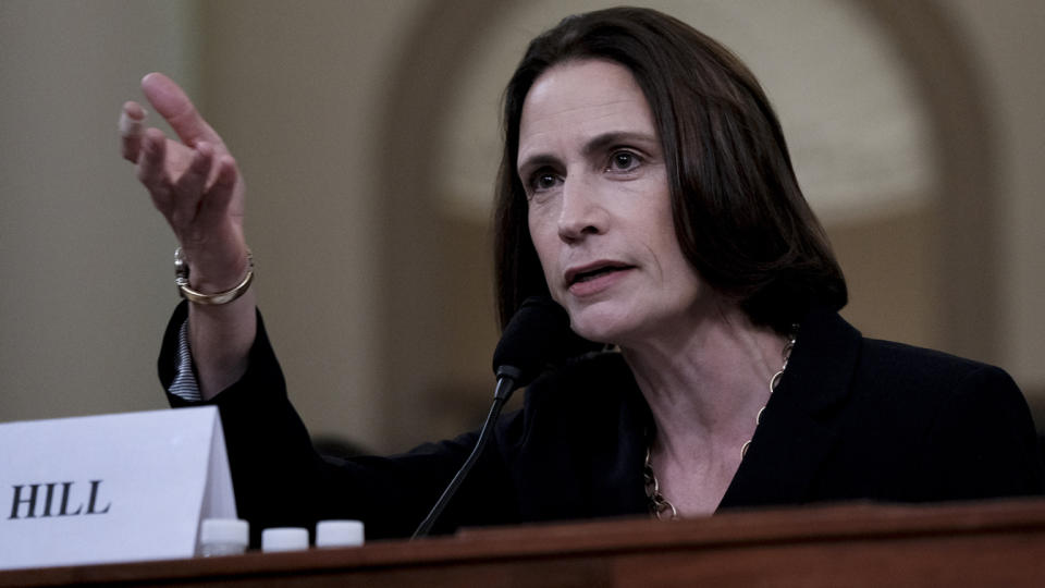 Fiona Hill, former top Russia adviser to the White House, provides testimony in the impeachment inquiry of President Trump in November 2019. (Bonnie Jo Mount/The Washington Post via Getty Images)
