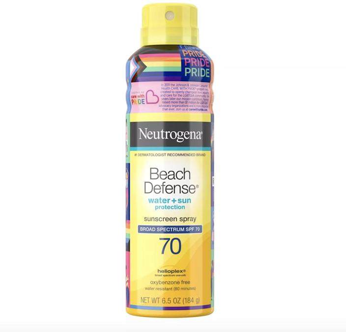 <p>As a part of the Care with Pride initiative, purchasing a <span>Neutrogena Beach Defense Spray - SPF 70</span> ($10) will contribute to the donation for Family Equality.</p>