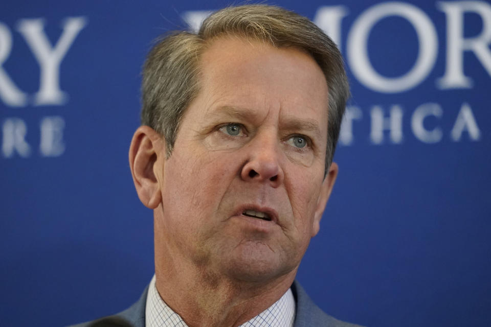Georgia Gov. Brian Kemp speaks during a news conference on vaccines for COVID-19 at Emory Health Care Tuesday, Dec. 22, 2020, in Atlanta. (AP Photo/John Bazemore)