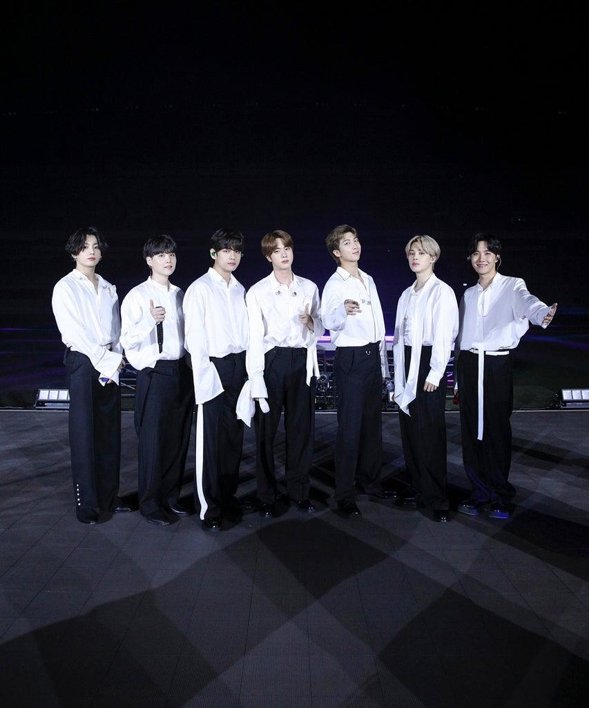 SOUTH KOREA – NOVEMBER 22: (EDITORIAL USE ONLY; NO BOOK COVERS.) In this image released on November 22, Jungkook, Suga, V, Jin, RM, Jimin, and J-Hope of BTS perform onstage for the 2020 American Music Awards on November 22, 2020 in South Korea. (Photo by Big Hit Entertainment/AMA2020/Getty Images via Getty Images)
