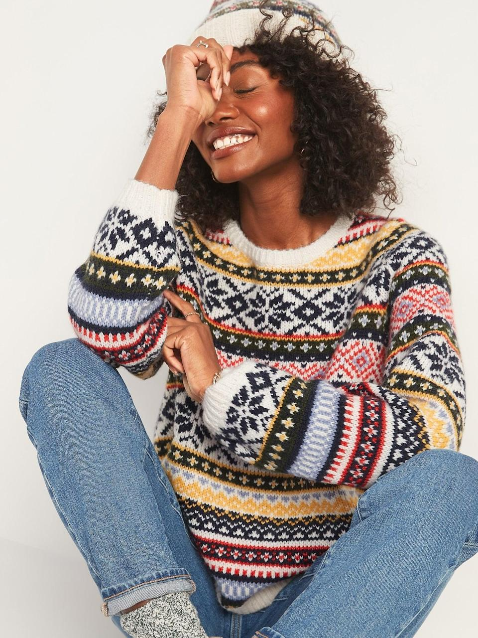 <p>With bright colors and cool designs, this <span>Cozy Fair Isle Blouson-Sleeve Sweater</span> ($45) is too cute to pass up.</p>