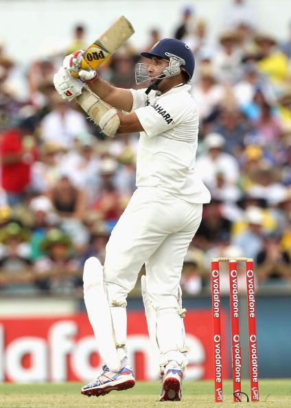 PERTH, AUSTRALIA - JANUARY 13:  VVS Laxman of India pulls for four during day one of the third Test match between Australia and India at WACA on January 13, 2012 in Perth, Australia.  (Photo by Hamish Blair/Getty Images)