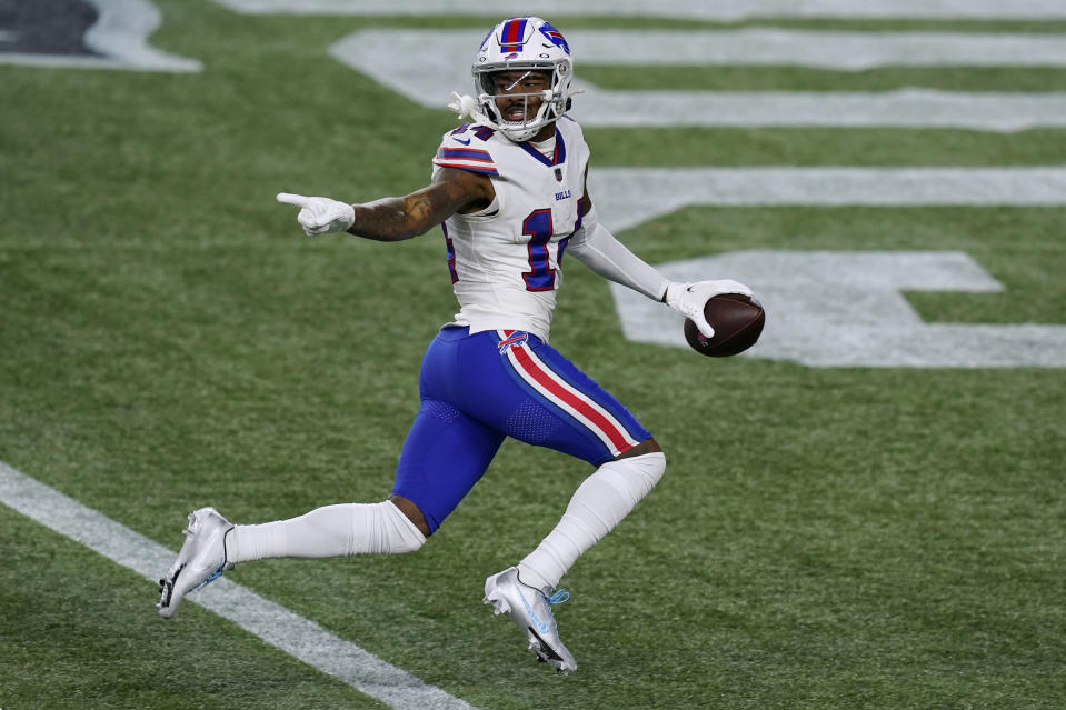 Buffalo Bills wide receiver Stefon Diggs crosses the goal line for one of his three touchdowns. (AP Photo/Elise Amendola)