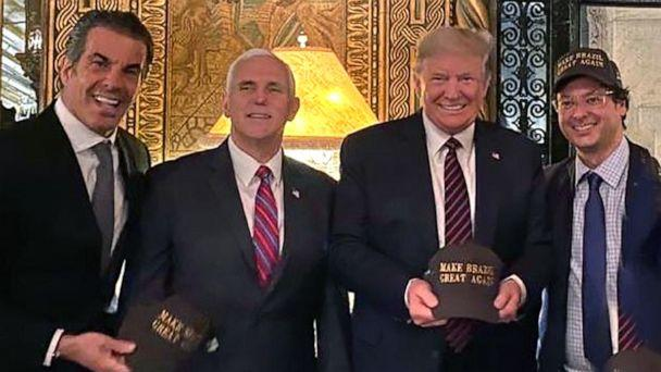 PHOTO: In a photo posted to Instagram, Vice President Mike Pence and President Donald Trump pose with Brazilian PresidentJair Bolsonaro's communications secretary, Fabio Wajngarten, right, during a visit to Mar-a-Lago over the weekend of March 7-8, 2020. (Fabio Wajngarten/Instagram)