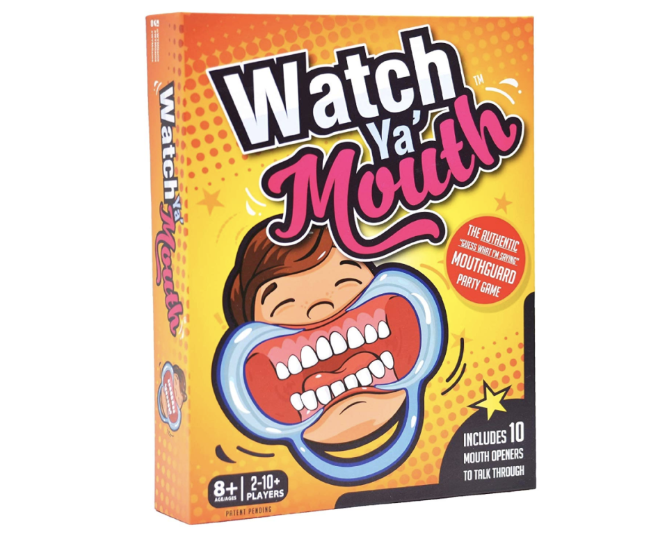 """<p><strong>Watch Ya' Mouth</strong></p><p>amazon.com</p><p><strong>$15.99</strong></p><p><a href=""""https://www.amazon.com/dp/B01IWALX00?tag=syn-yahoo-20&ascsubtag=%5Bartid%7C10055.g.29263705%5Bsrc%7Cyahoo-us"""" rel=""""nofollow noopener"""" target=""""_blank"""" data-ylk=""""slk:Shop Now"""" class=""""link rapid-noclick-resp"""">Shop Now</a></p><p>If they need a new activity for game night, this hilarious card game will guarantee a night full of laughs.</p>"""