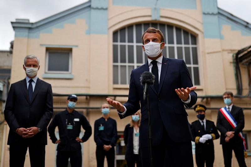 French President Emmanuel Macron, wearing a protective face mask, delivers a speech as he visits a site of pharmaceutical group Seqens, a global leader on the production of active pharmaceutical ingredients, to mobilize innovation and support the research on the coronavirus disease Covid-19 , in Villeneuve-la-Garenne, near Paris, on August 28, 2020. (Photo by CHRISTIAN HARTMANN / POOL / AFP) (Photo by CHRISTIAN HARTMANN/POOL/AFP via Getty Images) (Photo: CHRISTIAN HARTMANN via Getty Images)