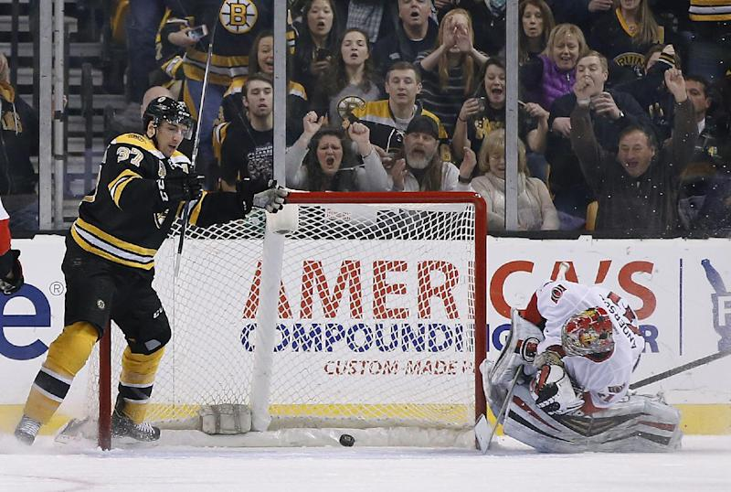 Bergeron leads Boston in 7-2 rout of Ottawa