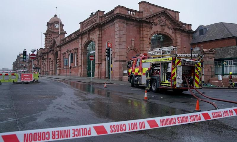 About 60 firefighters tackled the fire at Nottingham train station.