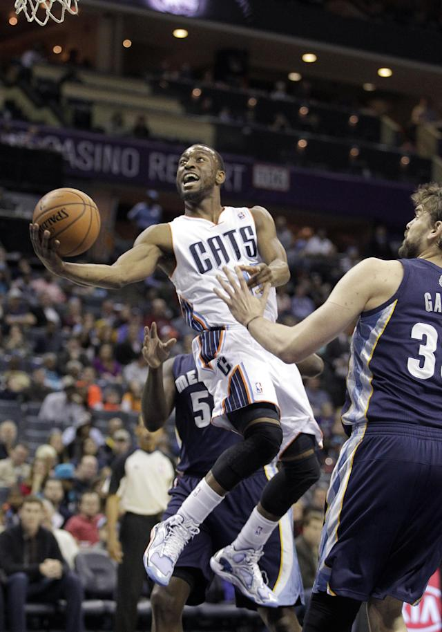 The Charlotte Bobcats' Kemba Walker (15) shoots as Memphis Grizzlies' Zach Randolph (50) and Marc Gasol, right, defend during the first half of an NBA basketball game in Charlotte, N.C., Saturday, Feb. 22, 2014. (AP Photo/Bob Leverone)