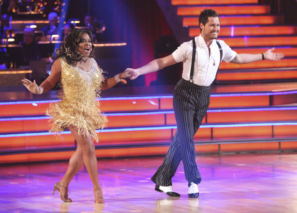 "Sherri Shepherd and Val Chmerkovskiy perform on ""Dancing With the Stars."""