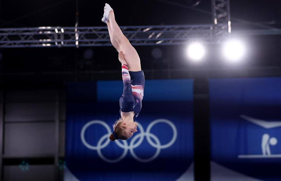 Bryony Page of Britain in action on the trampoline.