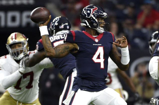 File- This Aug. 18, 2018, file photo shows Houston Texans quarterback Deshaun Watson (4) throwing a pass against the San Francisco 49ers during the first half of a preseason NFL football game, in Houston. Watson's performance in just a few games as a rookie last year has everyone looking forward to what the Houston Texans quarterback can do in a full season. But perhaps no one is more excited about Watson's potential than DeAndre Hopkins, Houston's top receiver who has suffered through a revolving door at the position since he was drafted in 2013. (AP Photo/Eric Christian Smith, File)