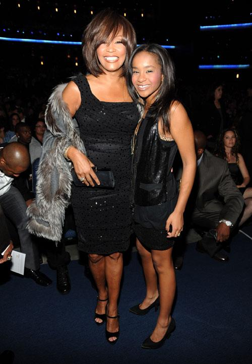 Whitney Houston and Bobbi Kristina Brown at the 2009 American Music Awards at Nokia Theatre L.A. Live on November 22, 2009 in Los Angeles, California. (Photo by Kevin Mazur/AMA2009/WireImage)