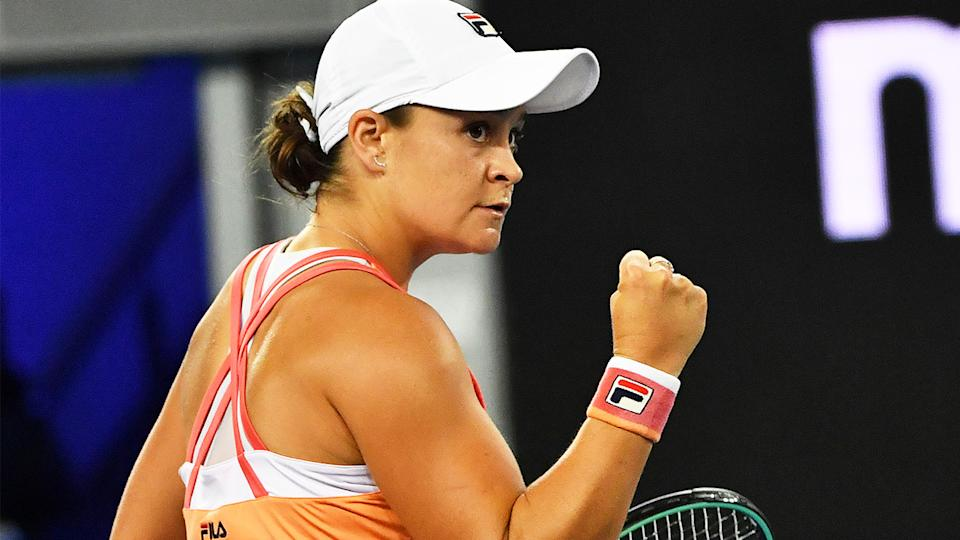 Ash Barty (pictured) first pumping after a point.