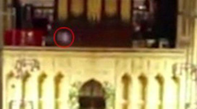 The 'figure' appears to be moving from one side of the cathedral to the other. Source: YouTube.