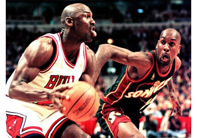 Michael Jordan didn't want to give Gary Payton any credit for the Sonics' wins in the 1996 NBA Finals. (VINCENT LAFORET/AFP via Getty Images)