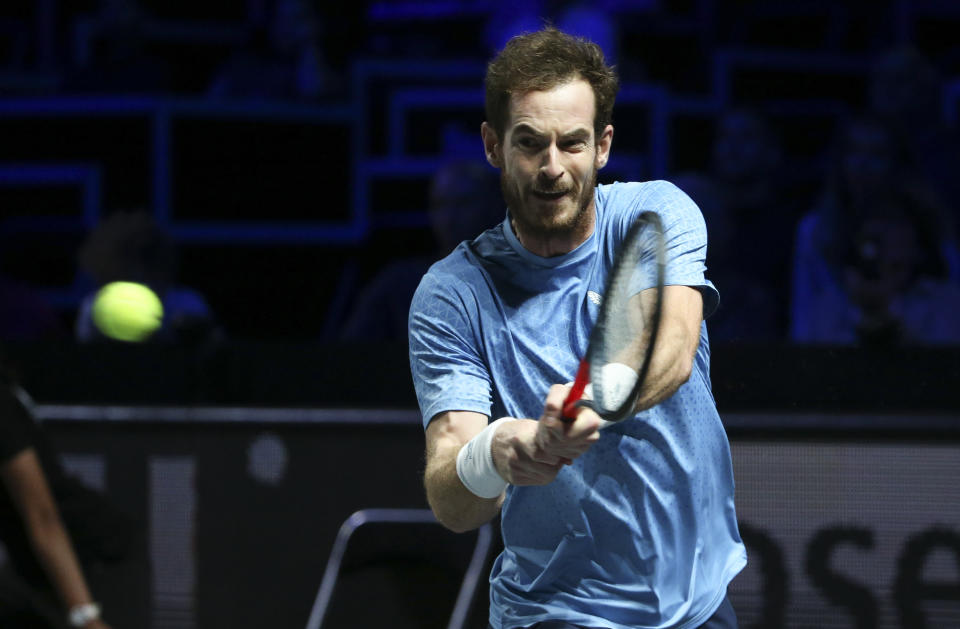 METZ, FRANCE - SEPTEMBER 22: Andy Murray of Great Britain during his second round victory at the Moselle Open 2021, an ATP 250 Series tennis tournament held at the Arenes de Metz on September 22, 2021 in Metz, France. (Photo by John Berry/Getty Images)
