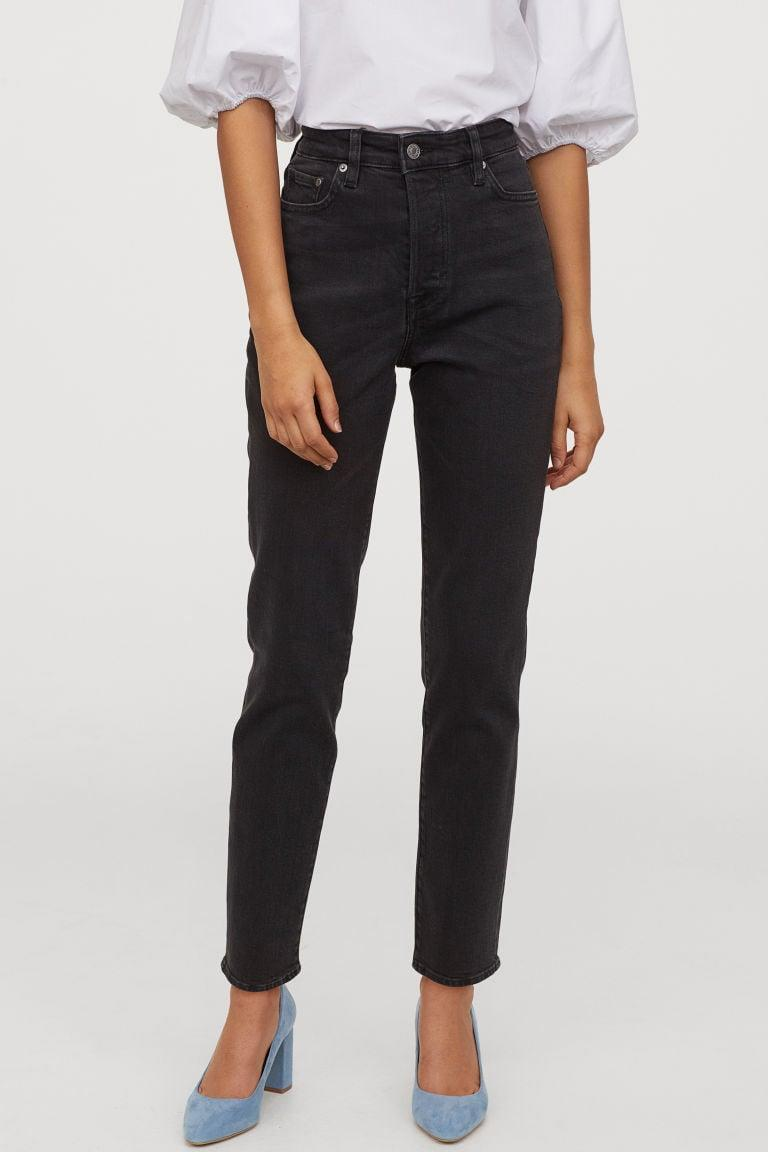 "<p>The look of these <a href=""https://www.popsugar.com/buy/HampM-Mom-High-Ankle-Jeans-539117?p_name=H%26amp%3BM%20Mom%20High%20Ankle%20Jeans&retailer=www2.hm.com&pid=539117&price=23&evar1=fab%3Aus&evar9=45615413&evar98=https%3A%2F%2Fwww.popsugar.com%2Ffashion%2Fphoto-gallery%2F45615413%2Fimage%2F47093993%2FHM-Mom-High-Ankle-Jeans&list1=shopping%2Cdenim%2Cwinter%2Cwinter%20fashion&prop13=mobile&pdata=1"" class=""link rapid-noclick-resp"" rel=""nofollow noopener"" target=""_blank"" data-ylk=""slk:H&M Mom High Ankle Jeans"">H&M Mom High Ankle Jeans</a> ($23, originally $30) is so on-trend right now.</p>"