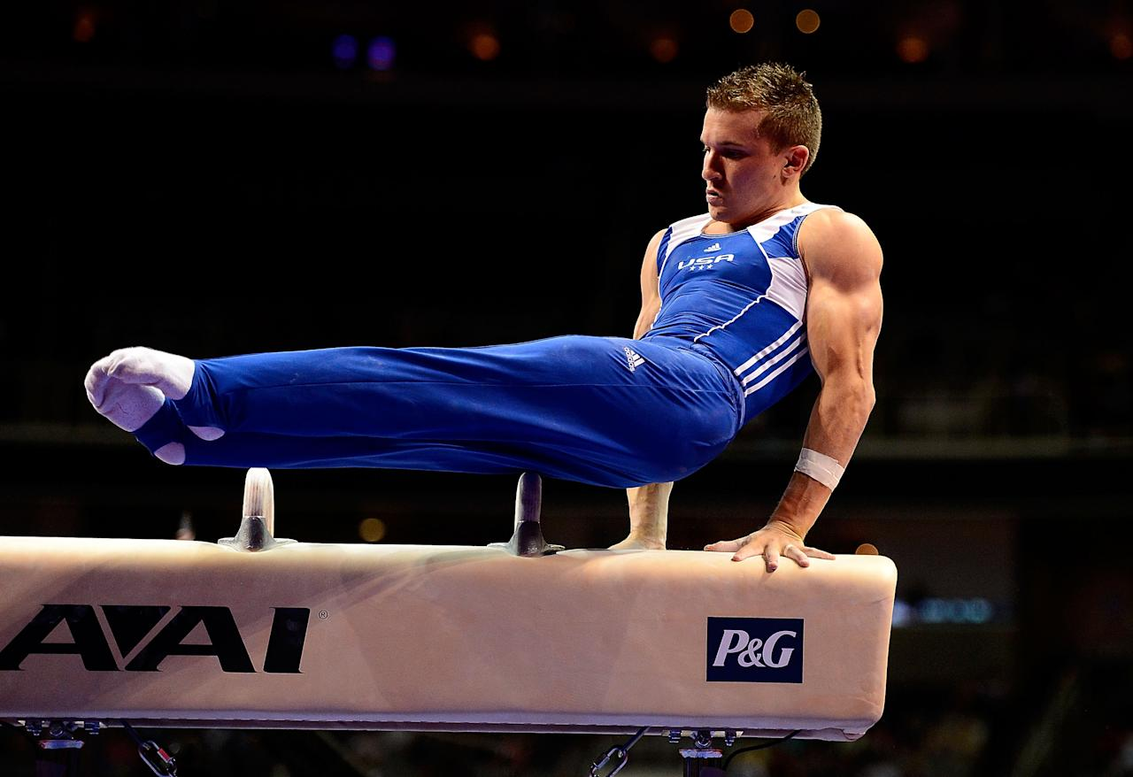 SAN JOSE, CA - JUNE 28:  Jonathan Horton competes on the pommel horse during day 1 of the 2012 U.S. Olympic Gymnastics Team Trials at HP Pavilion on June 28, 2012 in San Jose, California.  (Photo by Ronald Martinez/Getty Images)