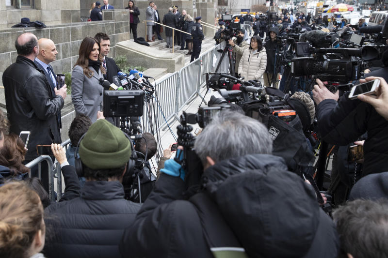Harvey Weinstein's lead attorney Donna Rotunno speaks to reporters outside court following a pre trial hearing, Monday, Jan. 6, 2020, in New York. The disgraced movie mogul faces allegations of rape and sexual assault.   (AP Photo/Mary Altaffer)