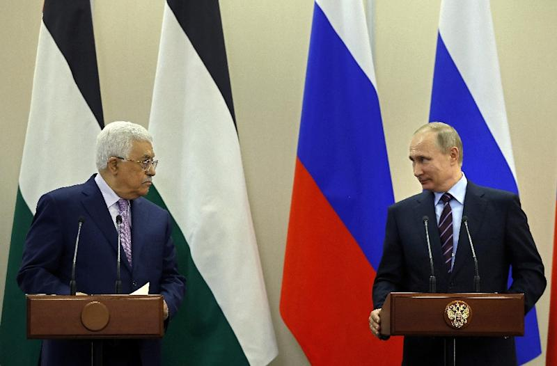 Palestinian leader Mahmud Abbas, pictured here with Vladimir Putin in May 2017, is seeking the Russian president's support following Washington's recognition of Jerusalem as Israel's capital (AFP Photo/YURI KOCHETKOV)