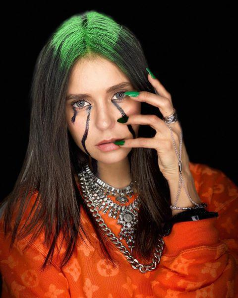 "<p>Nope, that's not Billie, it's Nina Dobrev! The actress went full out for her Billie transformation and <a href=""https://www.seventeen.com/celebrity/music/a29611100/celebrities-billie-eilish-halloween-costumes/"" rel=""nofollow noopener"" target=""_blank"" data-ylk=""slk:even the real Billie was impressed."" class=""link rapid-noclick-resp"">even the real Billie was impressed. </a></p><p><a href=""https://www.instagram.com/p/B4GmPRtgwWi/"" rel=""nofollow noopener"" target=""_blank"" data-ylk=""slk:See the original post on Instagram"" class=""link rapid-noclick-resp"">See the original post on Instagram</a></p>"