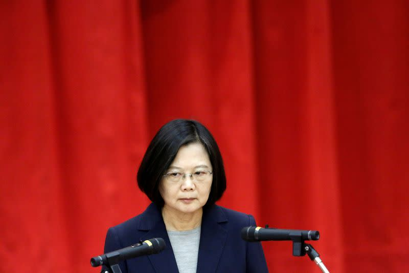 Taiwan President Tsai Ing-wen talks during a graduation ceremony for the Investigation Bureau agents in New Taipei City,