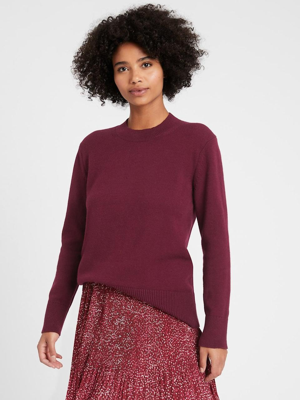 <p>Pair this <span>Banana Republic Relaxed Chunky Sweater</span> ($55, originally $80) classic crewneck with a crisp button down underneath and jeans.</p>