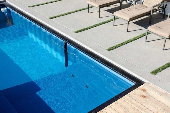 Close-up view of a Modpools Container Pool's sleek underwater detailing.