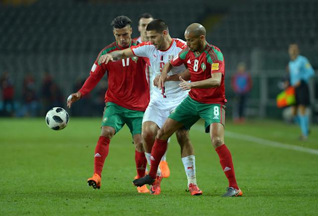 Soccer Football - International Friendly - Serbia vs Morocco - Stadio Olimpico Grande Torino, Turin, Italy - March 23, 2018 Serbia's Aleksandar Mitrovic in action with Morocco's Karim El Ahmadi and Nabil Dirar REUTERS/Massimo Pinca
