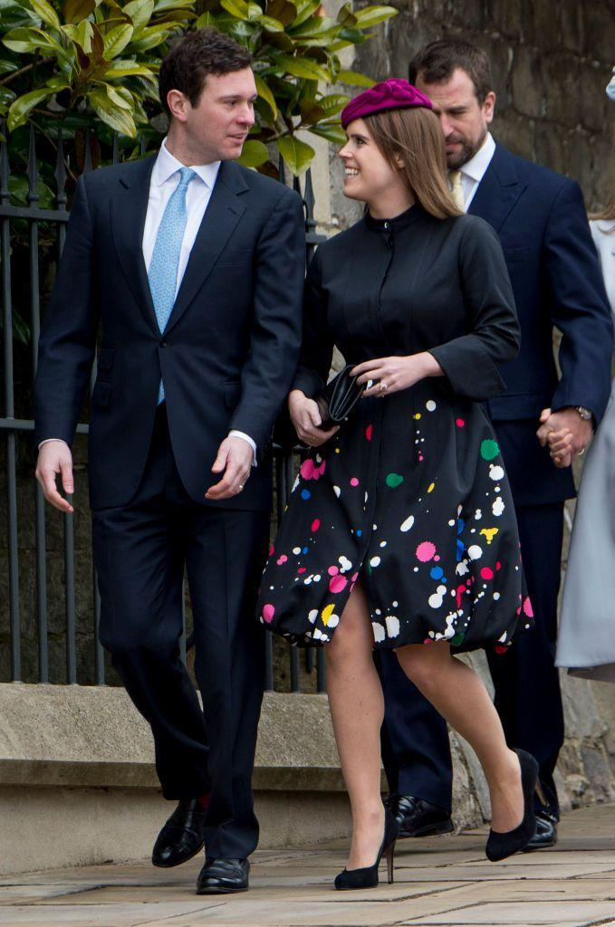 <p>Princess Eugenie and her fiancé Jack Brooksbank attend the Easter service. </p>