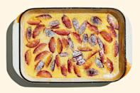 """Feel free to use your favorite kind of plum for this pudding recipe, but we recommend prune plums, which have an almond-shaped body that tapers at the end. They're on the smaller side, hold up well, and the pit comes off the flesh easily, all of which makes them especially good for baking. <a href=""""https://www.epicurious.com/recipes/food/views/baked-plum-pudding?mbid=synd_yahoo_rss"""" rel=""""nofollow noopener"""" target=""""_blank"""" data-ylk=""""slk:See recipe."""" class=""""link rapid-noclick-resp"""">See recipe.</a>"""