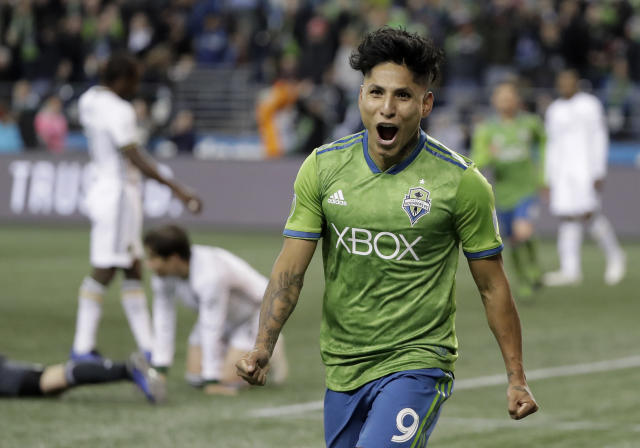 A cruel fate: Raul Ruidiaz was all smiles after scoring in Thursday's thrilling playoff match against the rival Portland Timbers, but his Seattle Sounders were eliminated on penalties. (Ted S. Warren/AP)
