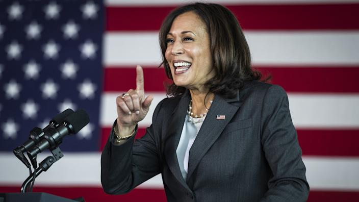 U.S. Vice President Kamala Harris speaks after touring a Covid-19 vaccination site at M&T Bank Stadium in Baltimore, Maryland, U.S., on Thursday, April 29, 2021. (Jim Lo Scalzo/EPA/Bloomberg via Getty Images)