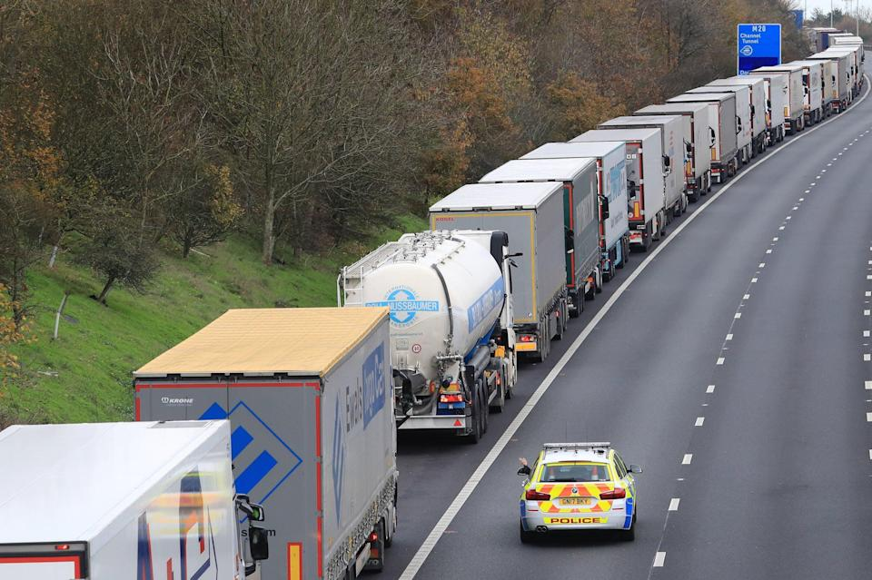 <p>Freight lorries queuing along the M20</p> (PA)