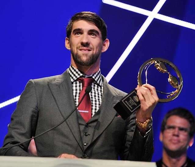 NEW YORK, NY - NOVEMBER 19: Olympic athlete Michael Phelps attends the 2012 Golden Goggle awards at the Marriott Marquis Times Square on November 19, 2012 in New York City. (Photo by Stephen Lovekin/Getty Images)