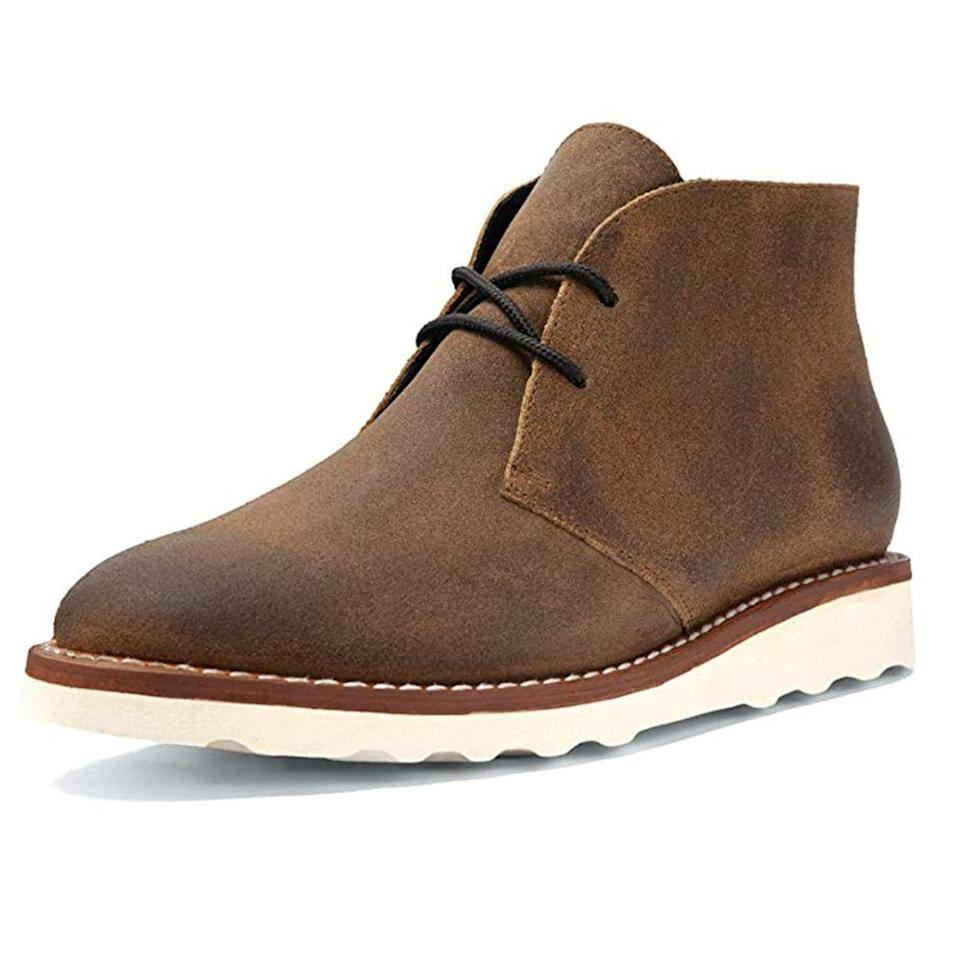 """<p><strong>Thursday Boot Company</strong></p><p>amazon.com</p><p><strong>$149.00</strong></p><p><a href=""""https://www.amazon.com/dp/B08DJ78B9R?tag=syn-yahoo-20&ascsubtag=%5Bartid%7C10054.g.28186249%5Bsrc%7Cyahoo-us"""" rel=""""nofollow noopener"""" target=""""_blank"""" data-ylk=""""slk:Shop Now"""" class=""""link rapid-noclick-resp"""">Shop Now</a></p><p>Thursday makes a range of business casual shoes, but we're partial to the Scout chukkas. Wear them with chinos or dark denim and call it a day. </p>"""