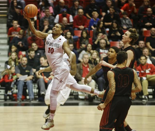 San Diego State guard Aqeel Quinn (10) beats the Saint Katherine defense down the court for a basket during the first half of an NCAA college basketball game on Friday dec. 27, 2013, in San Diego. (AP photo/Lenny Ignelzi)