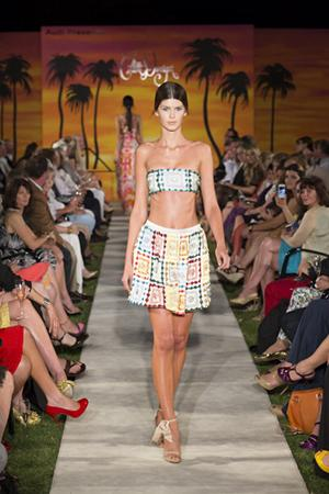 The resort collection featured bright prints and textures in both the clothing and swimwear.