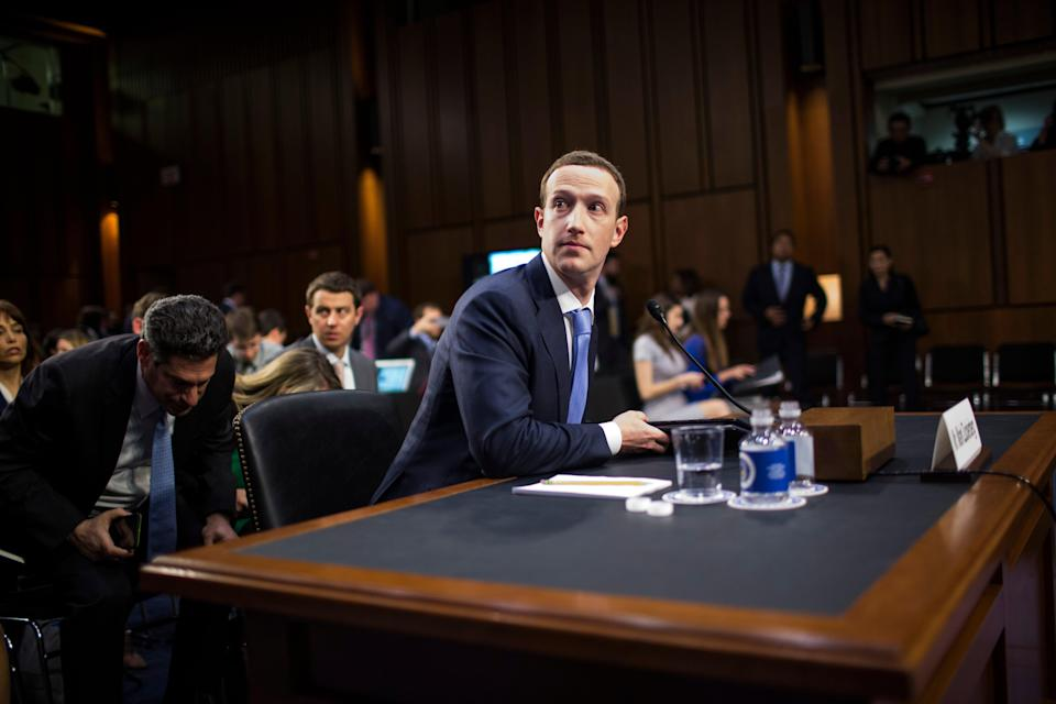 Facebook's Mark Zuckerberg testifies before a combined Senate Judiciary and Commerce committee hearing in 2018Getty Images