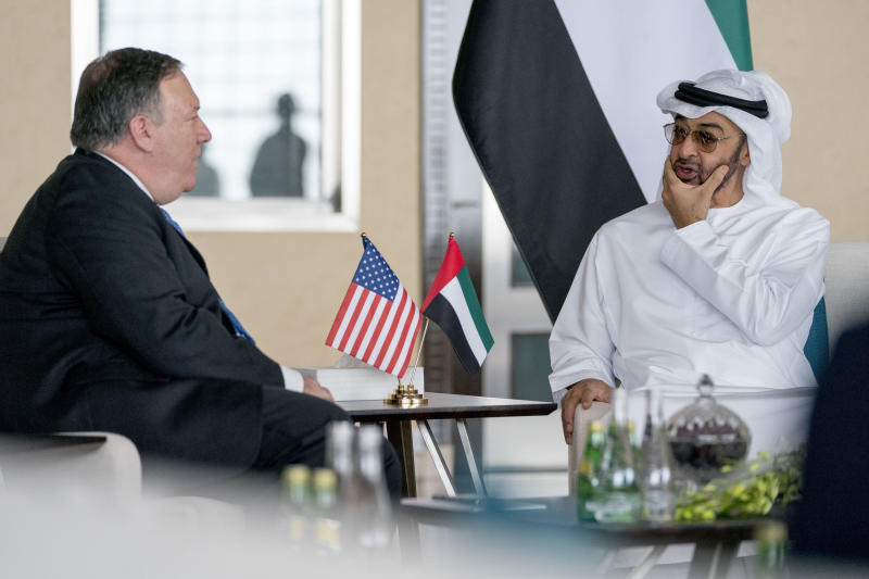 U.S. Secretary of State Mike Pompeo, left, and Abu Dhabi's Crown Prince Sheikh Mohammed bin Zayed Al Nahyan meet at the Al Shati Palace in Abu Dhabi‎, United Arab Emirates, Tuesday, July 10, 2018. Pompeo is on a trip traveling to North Korea, Japan, Vietnam, Afghanistan, Abu Dhabi, and Brussels. (AP Photo/Andrew Harnik, Pool)