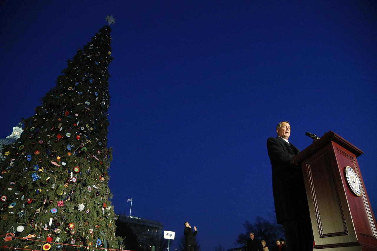 U.S. House Speaker John Boehner (R-OH) speaks before the lighting of the U.S. Capitol Christmas Tree in Washington, December 3, 2013. REUTERS/Jonathan Ernst (UNITED STATES - Tags: POLITICS SOCIETY)