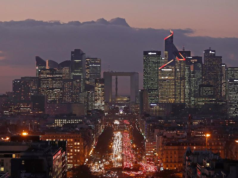 The financial district of La Defense is seen at dusk near Paris, France, January 5, 2017.
