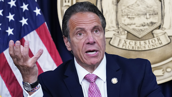 """Andrew Cuomo resigned as the governor of New York in August. <span class=""""copyright"""">Mary Altaffer-Pool/Getty Images</span>"""