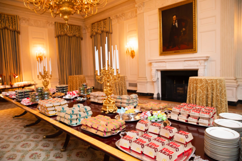 Mr Trump would not reveal how much he paid for the fast good smorgasbord (Picture: The White House)