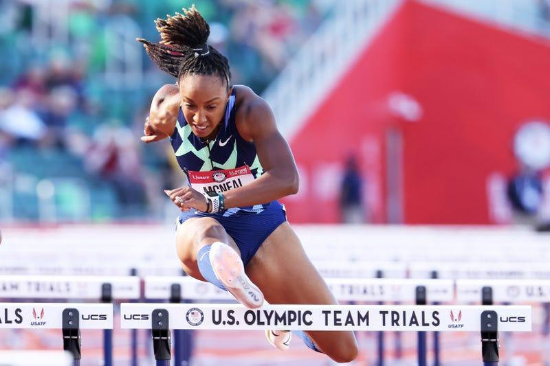 Brianna McNeal competes in the first round of Women's 100 Meter Hurdles on day 2 of the 2020 U.S. Olympic Track & Field Team Trials at Hayward Field on June 19, 2021